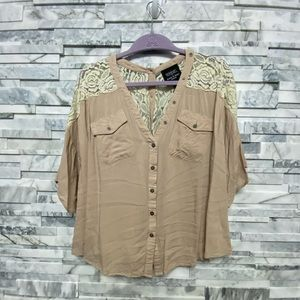 Tan with lace back button down shirt